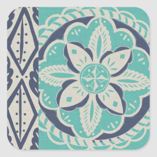 Blue Batik Tile IV Square Sticker