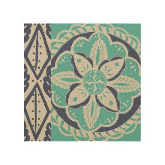Blue Batik Tile IV Wood Wall Art