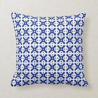 Blue Batik Trellis Pillow