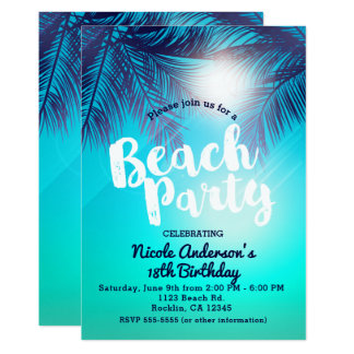 Blue BEACH PARTY Sunny Palm Trees Summer Birthday Card
