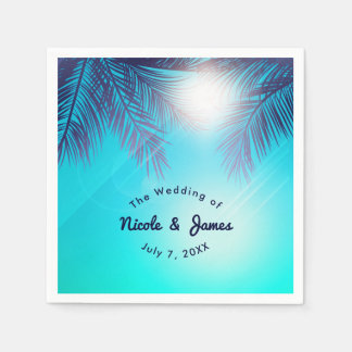 Blue BEACH PARTY Sunny Palm Trees Summer Birthday Disposable Napkins