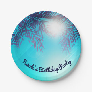 Blue BEACH PARTY Sunny Palm Trees Summer Birthday Paper Plate