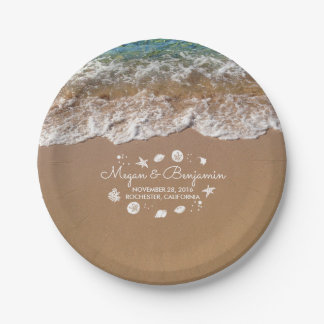 Blue Beach Sea waves and Ocean Treasures Wedding 7 Inch Paper Plate