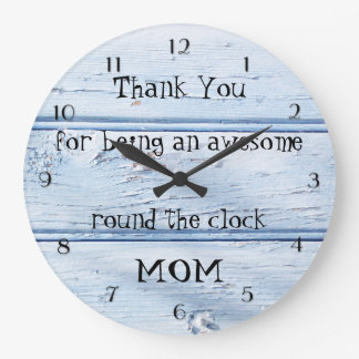 Blue Beach Style Wood Mother's Day Wall Clock