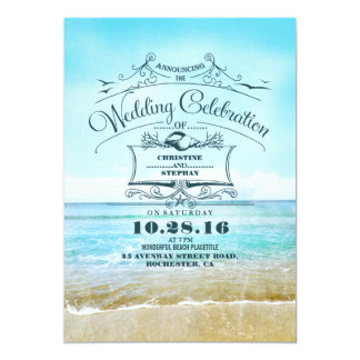 Blue Beach Wedding Announcement Invitations