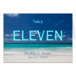 Blue Beach Wedding Table Numbers Note Card