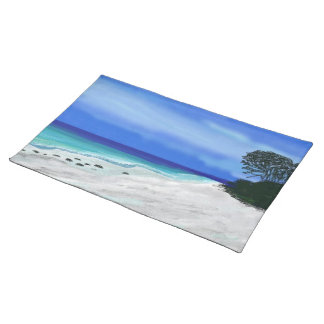 Blue Beach White Sand Custom Placemats