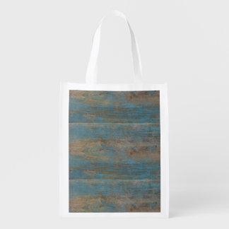 Blue Beach Wood Texture Reusable Grocery Bag