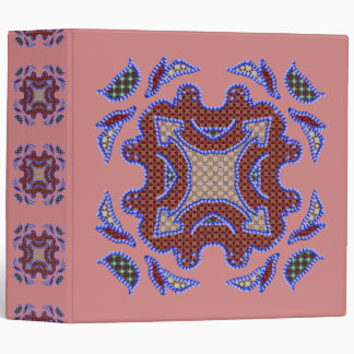 Blue Beaded Patchwork Motif Vinyl Binders