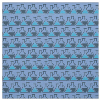 Blue Beakers Chemistry Science Tiled Design Fabric