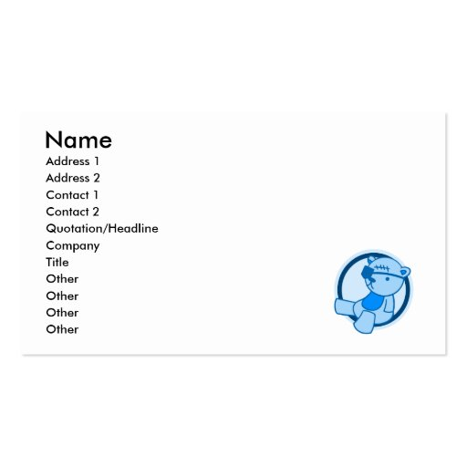 Blue Bear Eye Patch Business Card Template