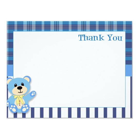 Blue Bear with Plaid Thank You Card