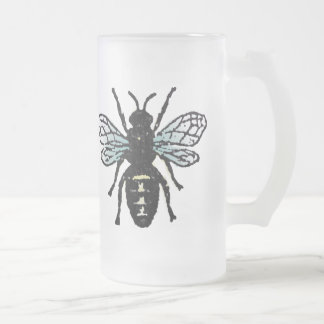 Blue Bee Frosted Glass Beer Mug