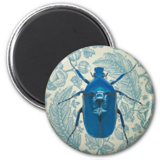 Blue Beetle on Feathery Blue Leaves Magnet
