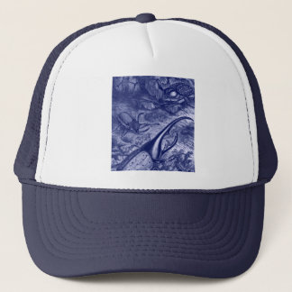 Blue Beetles Vintage Nature Print Trucker Hat