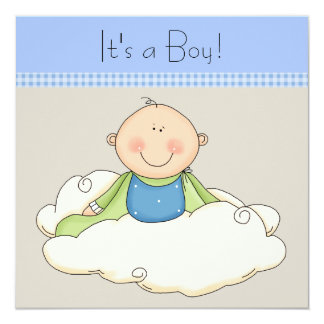 Blue Beige Baby Boy Cloud Baby Shower Card