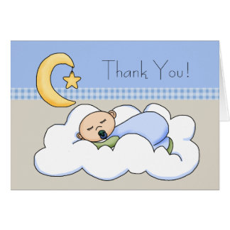 Blue Beige Baby Boy Cloud Baby Thank You Cards