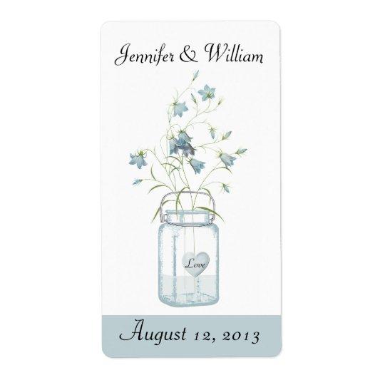 Blue Bells in a Mason Jar Wedding Mini Wine Label Shipping Label