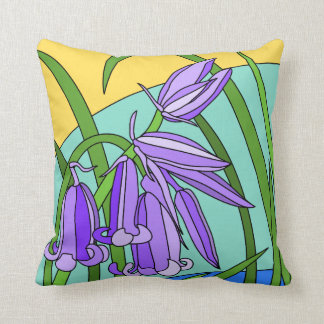 Blue bells in the forest throw pillow