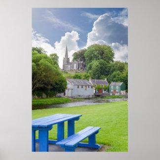 blue bench at castletownroche park poster