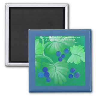 Blue berries and Green Leaves Quotation Magnet