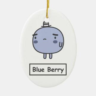 Blue Berry Ceramic Oval Ornament