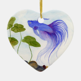 Blue Betta Fish Ceramic Ornament