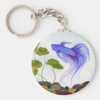 Blue Betta Fish Keychain