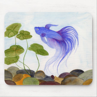 Blue Betta Fish Mouse Pad