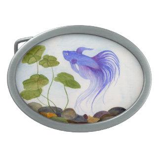 Blue Betta Fish Oval Belt Buckle