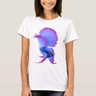 Blue Betta Splendens Ladies Babydoll T-Shirt