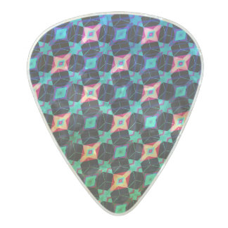 Blue Beveled Diamond Cube Lattice Geometric Mosaic Pearl Celluloid Guitar Pick