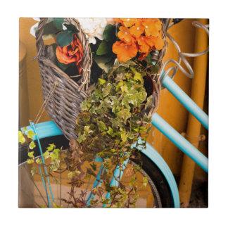 Blue Bicycle Basket Tile