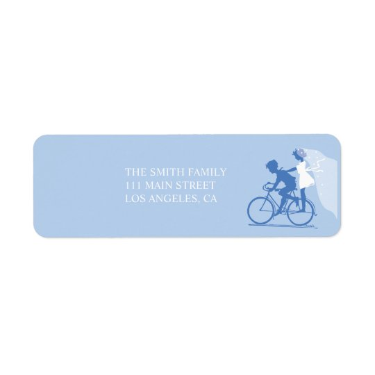 Blue Bicycle Couple Wedding Return Address Label