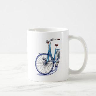 Blue bicycle drawing coffee mug