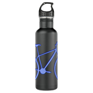 Blue bicycle on a 24 oz. water bottle.