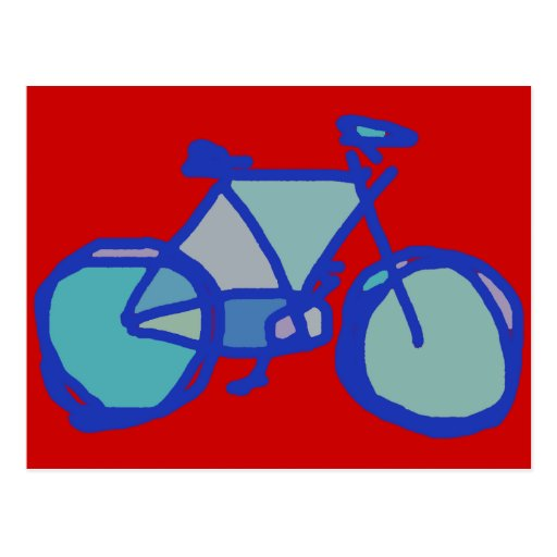 blue bicycle post card