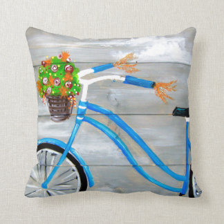 Blue Bicycle Throw Pillow
