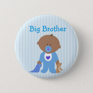 Blue Big Brother To Be Baby Shower Button