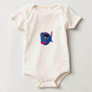 blue big lips fish baby bodysuit