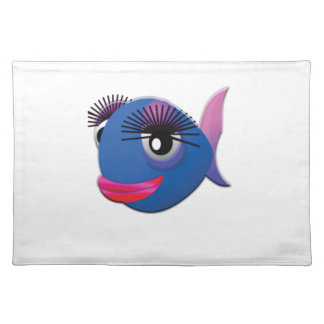 blue big lips fish placemat