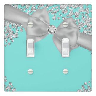 Blue Big White Bow Diamonds Glam Custom Light Switch Cover