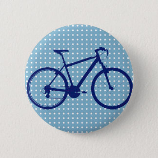 blue bike and polka dots 2 inch round button