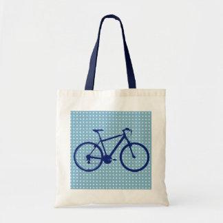 blue bike and polka dots tote bag