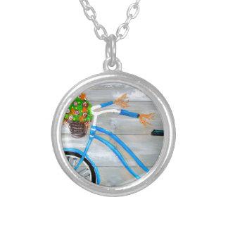 Blue Bike Zazzle Silver Plated Necklace