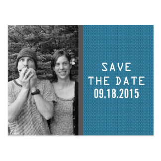 Blue Binary Code Photo Save the Date Postcard