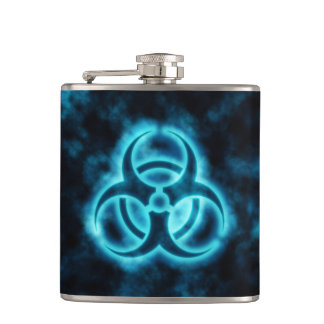 Blue Biohazard Symbol Hip Flask
