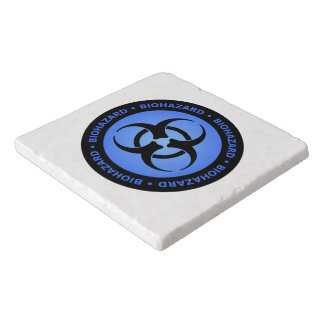 Blue Biohazard Warning Trivet