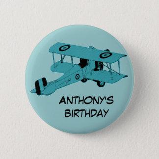 blue biplane birthday pin button