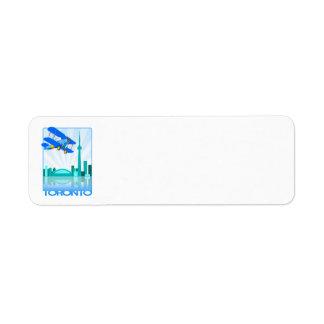 Blue Biplane Over Toronto Retro Design Return Address Label